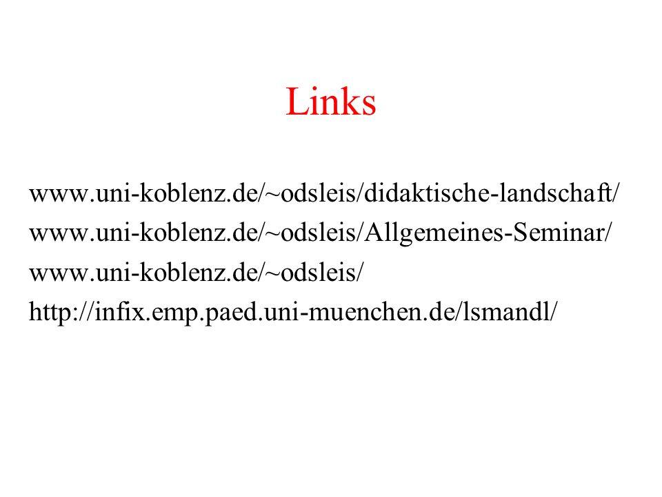 Links www.uni-koblenz.de/~odsleis/didaktische-landschaft/
