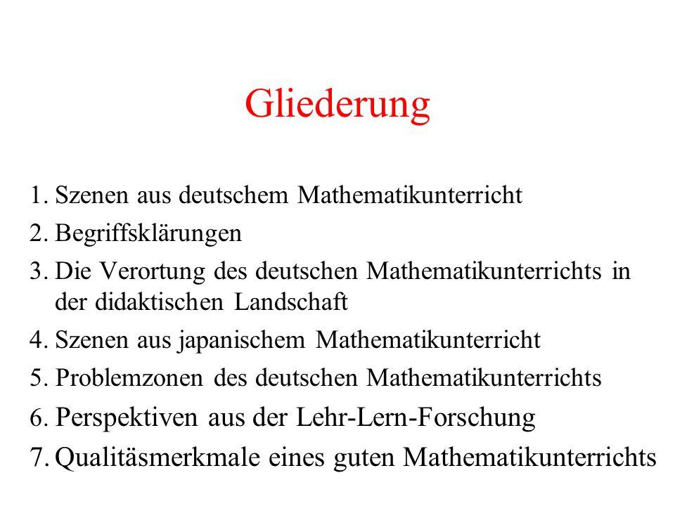 Gliederung 7. Qualitäsmerkmale eines guten Mathematikunterrichts