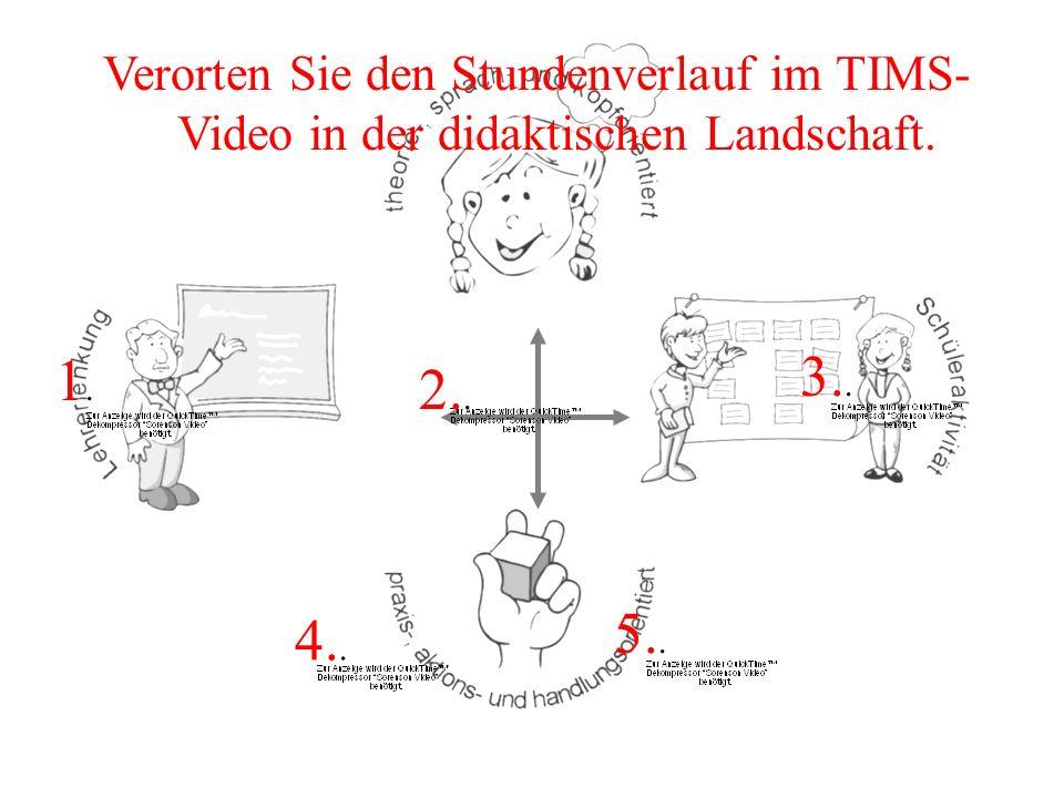 Verorten Sie den Stundenverlauf im TIMS-Video in der didaktischen Landschaft.