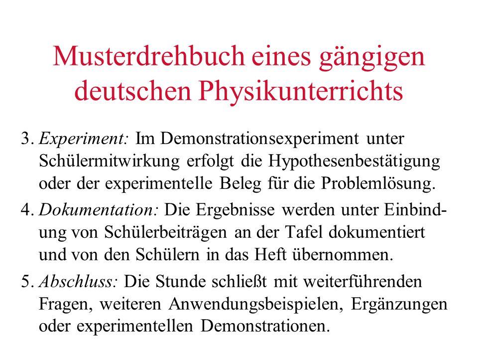 Musterdrehbuch eines gängigen deutschen Physikunterrichts