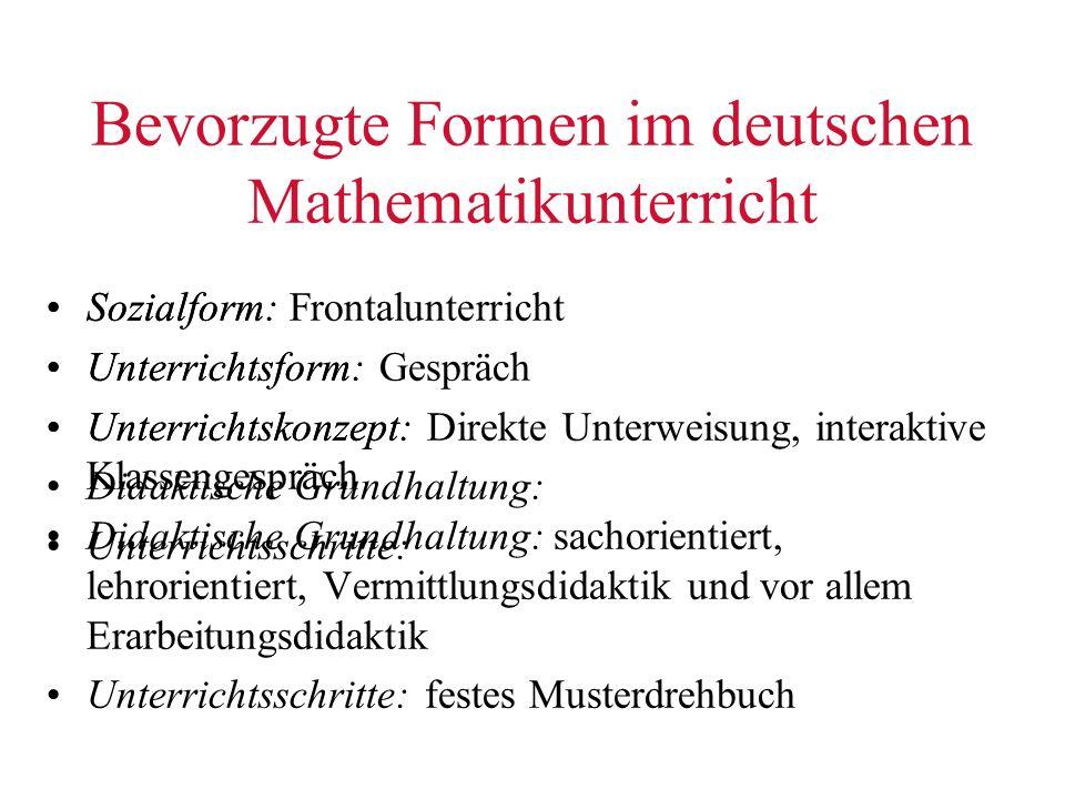 Bevorzugte Formen im deutschen Mathematikunterricht