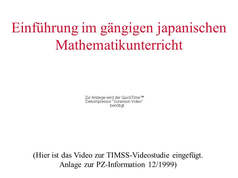 Einführung im gängigen japanischen Mathematikunterricht