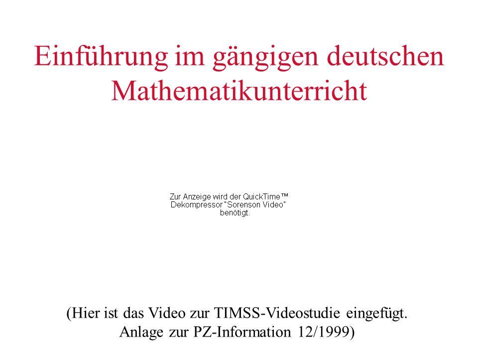 Einführung im gängigen deutschen Mathematikunterricht