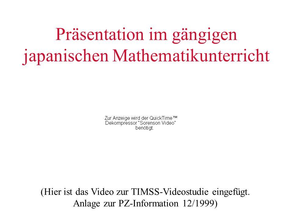 Präsentation im gängigen japanischen Mathematikunterricht