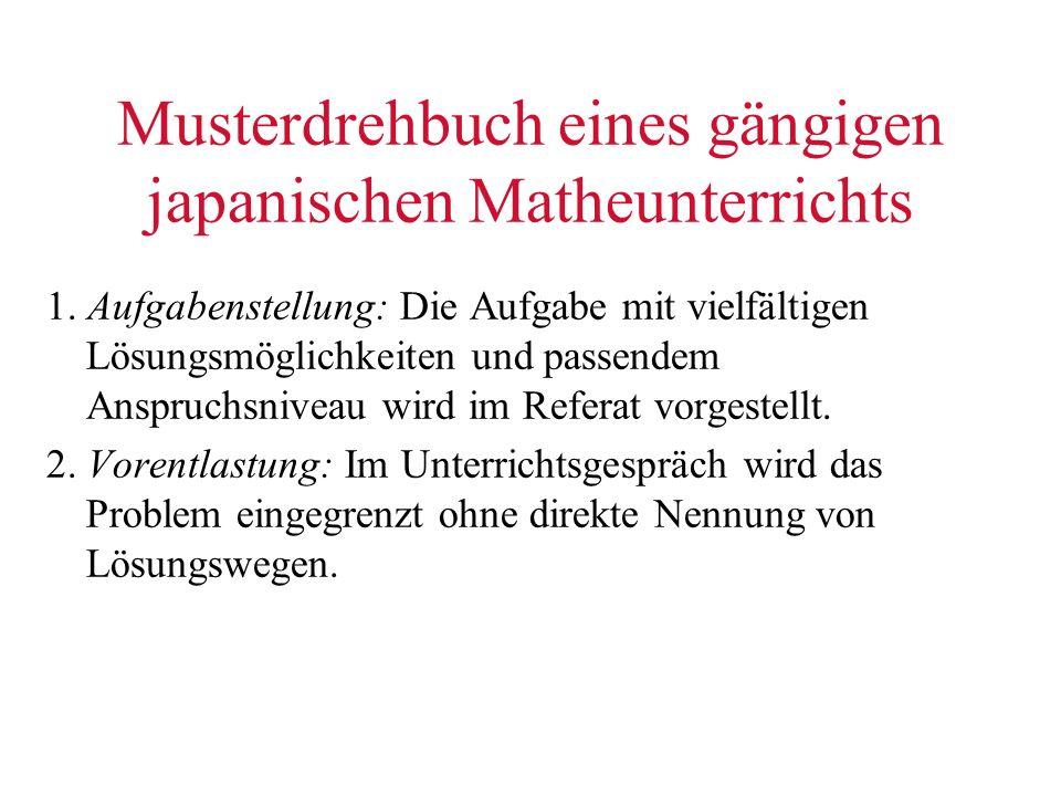 Musterdrehbuch eines gängigen japanischen Matheunterrichts