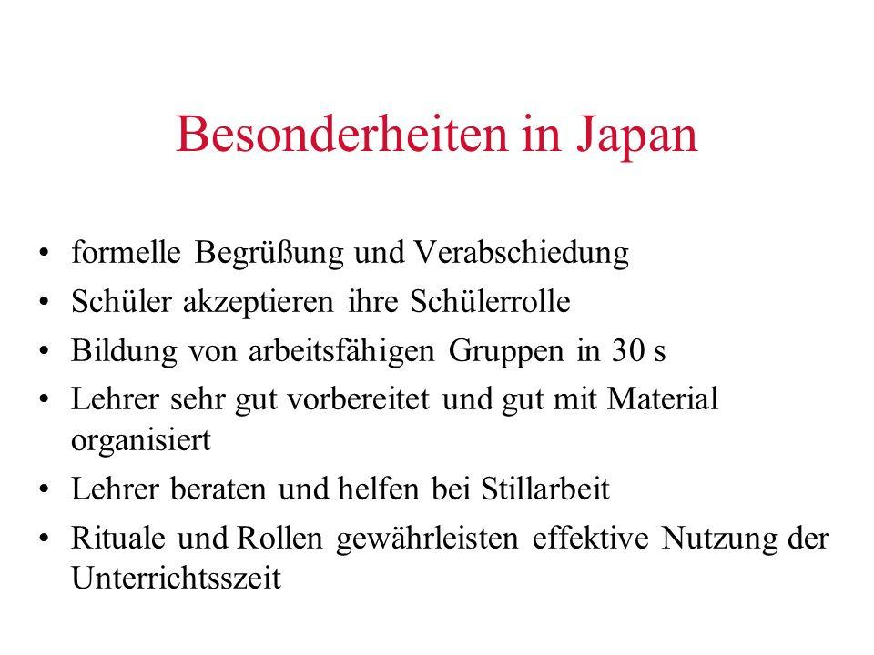 Besonderheiten in Japan