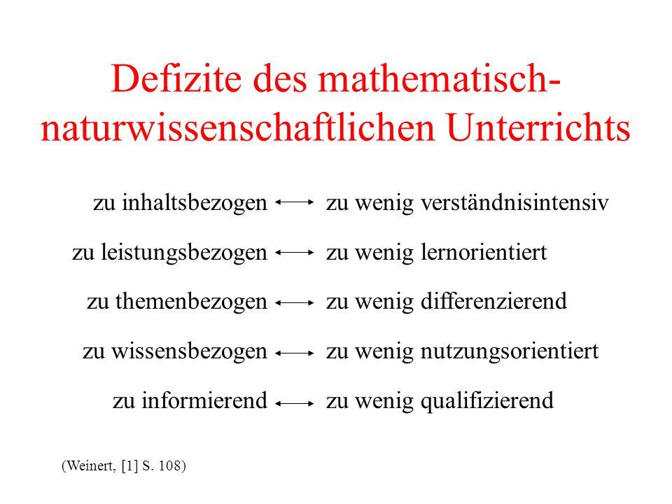 Defizite des mathematisch-naturwissenschaftlichen Unterrichts