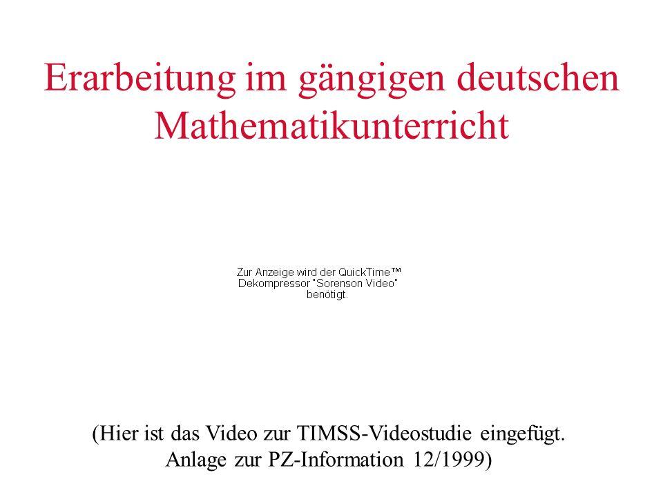 Erarbeitung im gängigen deutschen Mathematikunterricht