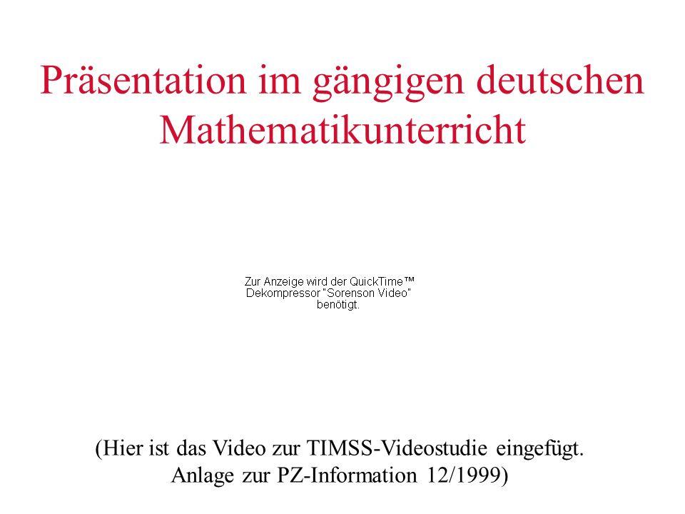 Präsentation im gängigen deutschen Mathematikunterricht