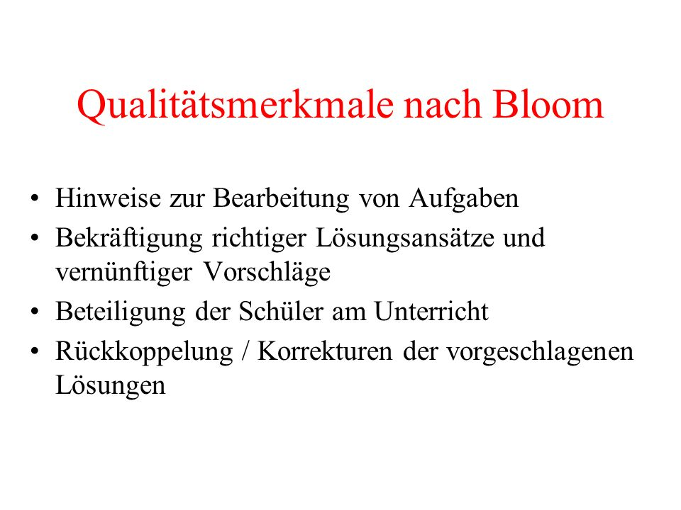 Qualitätsmerkmale nach Bloom