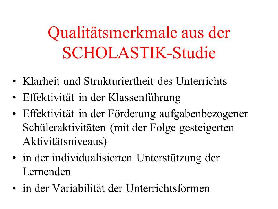 Qualitätsmerkmale aus der SCHOLASTIK-Studie