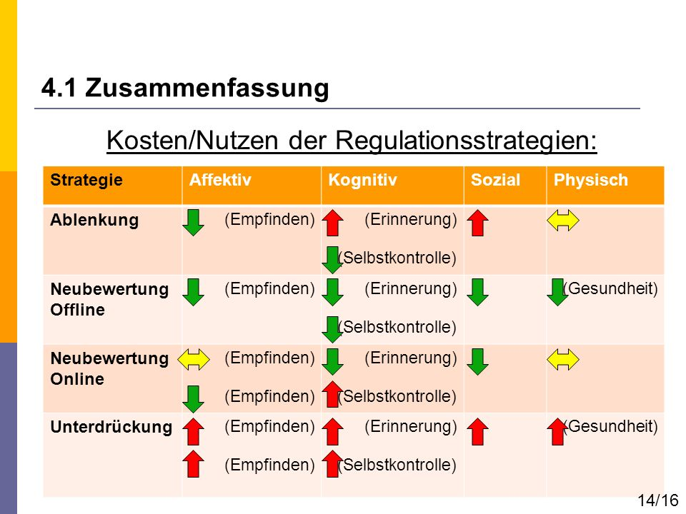 Kosten/Nutzen der Regulationsstrategien: