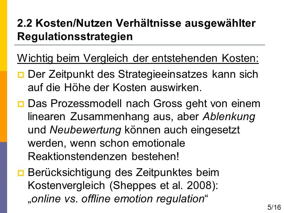 2.2 Kosten/Nutzen Verhältnisse ausgewählter Regulationsstrategien