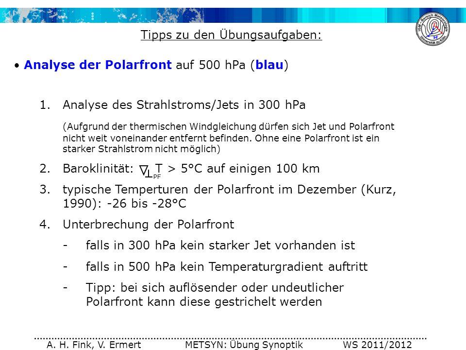 Tipps zu den Übungsaufgaben: Analyse der Polarfront auf 500 hPa (blau)