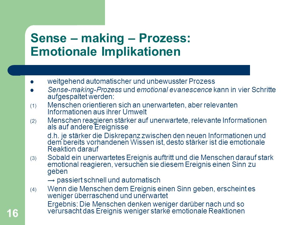 Sense – making – Prozess: Emotionale Implikationen