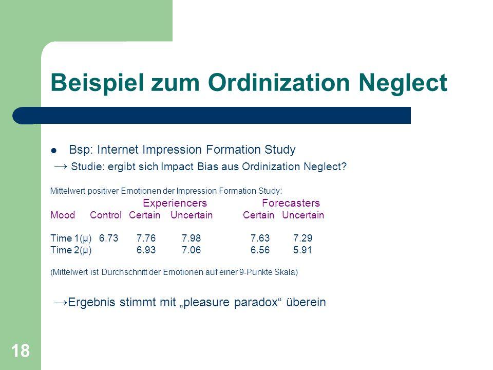 Beispiel zum Ordinization Neglect
