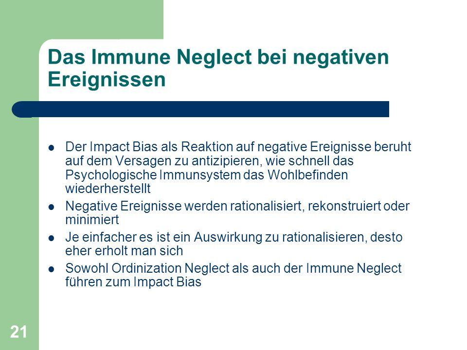 Das Immune Neglect bei negativen Ereignissen