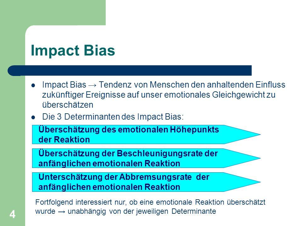 Impact Bias Impact Bias → Tendenz von Menschen den anhaltenden Einfluss zukünftiger Ereignisse auf unser emotionales Gleichgewicht zu überschätzen.