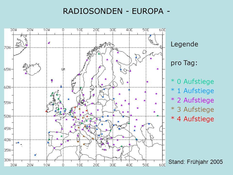 RADIOSONDEN - EUROPA - Legende pro Tag: * 0 Aufstiege * 1 Aufstiege
