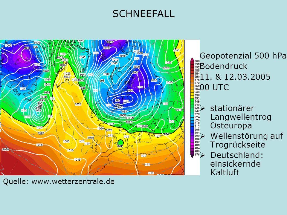 SCHNEEFALL Geopotenzial 500 hPa Bodendruck 11. & 12.03.2005 00 UTC