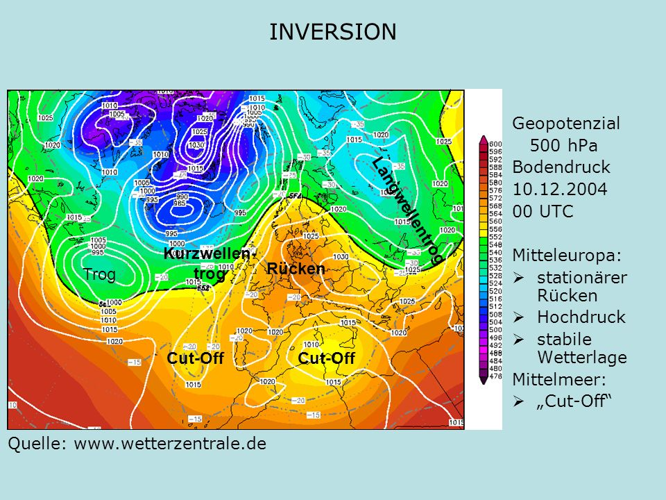 INVERSION Geopotenzial 500 hPa Bodendruck 10.12.2004 00 UTC