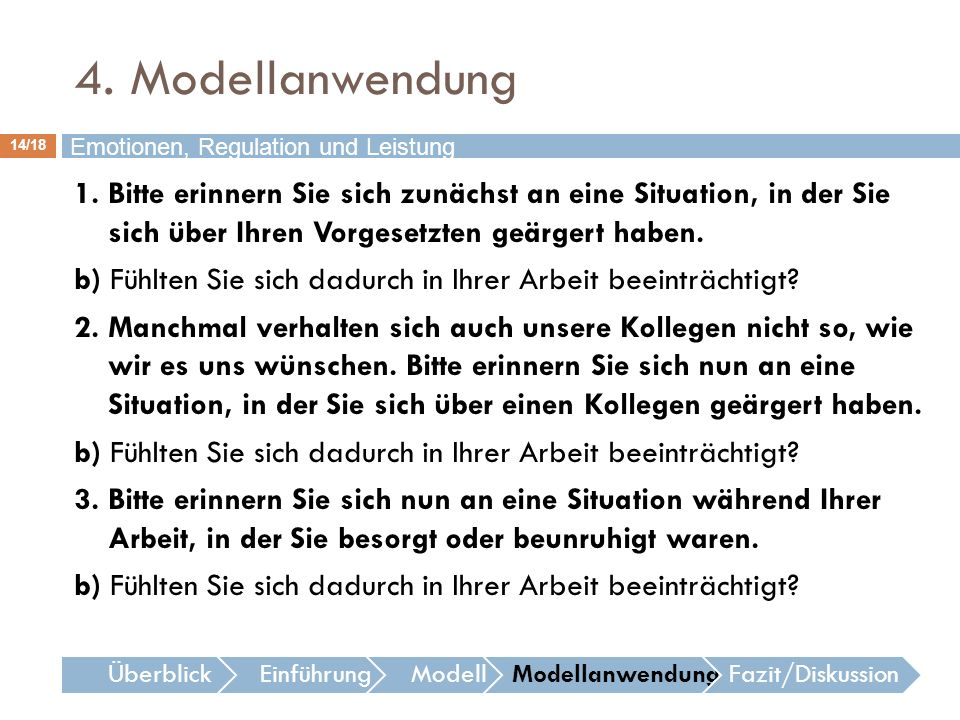 4. Modellanwendung Emotionen, Regulation und Leistung.