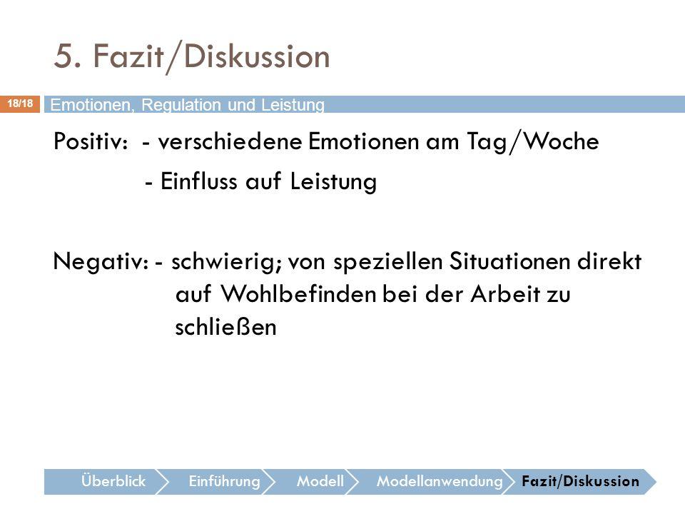 5. Fazit/Diskussion Emotionen, Regulation und Leistung.