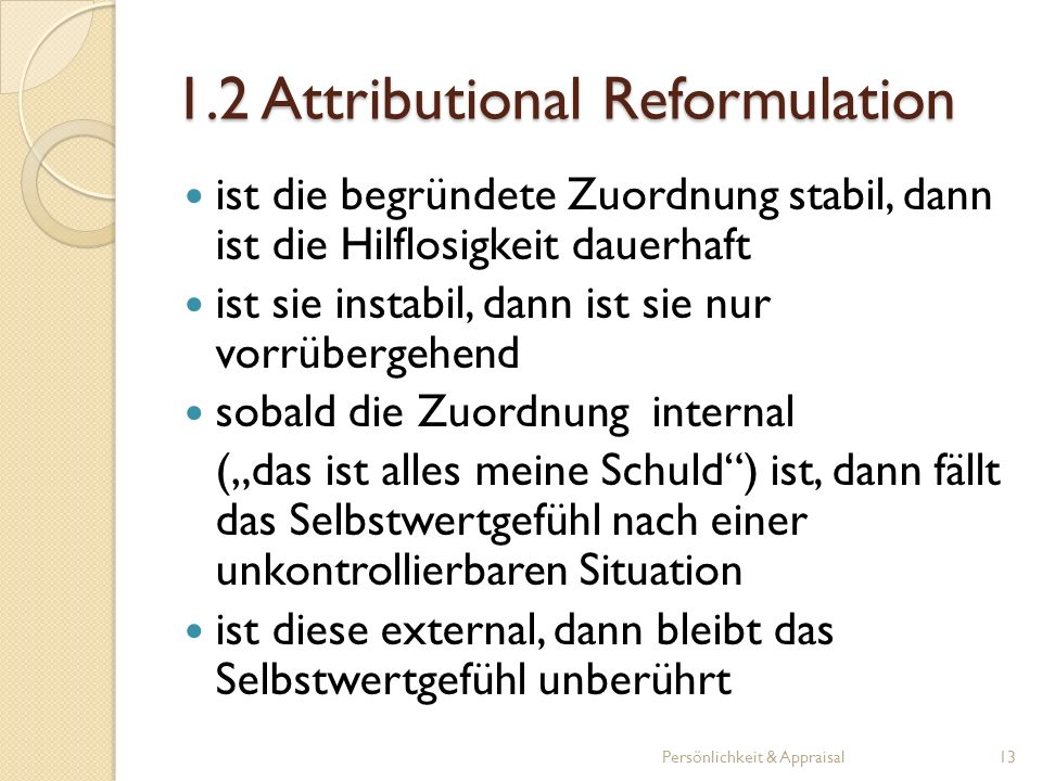 1.2 Attributional Reformulation