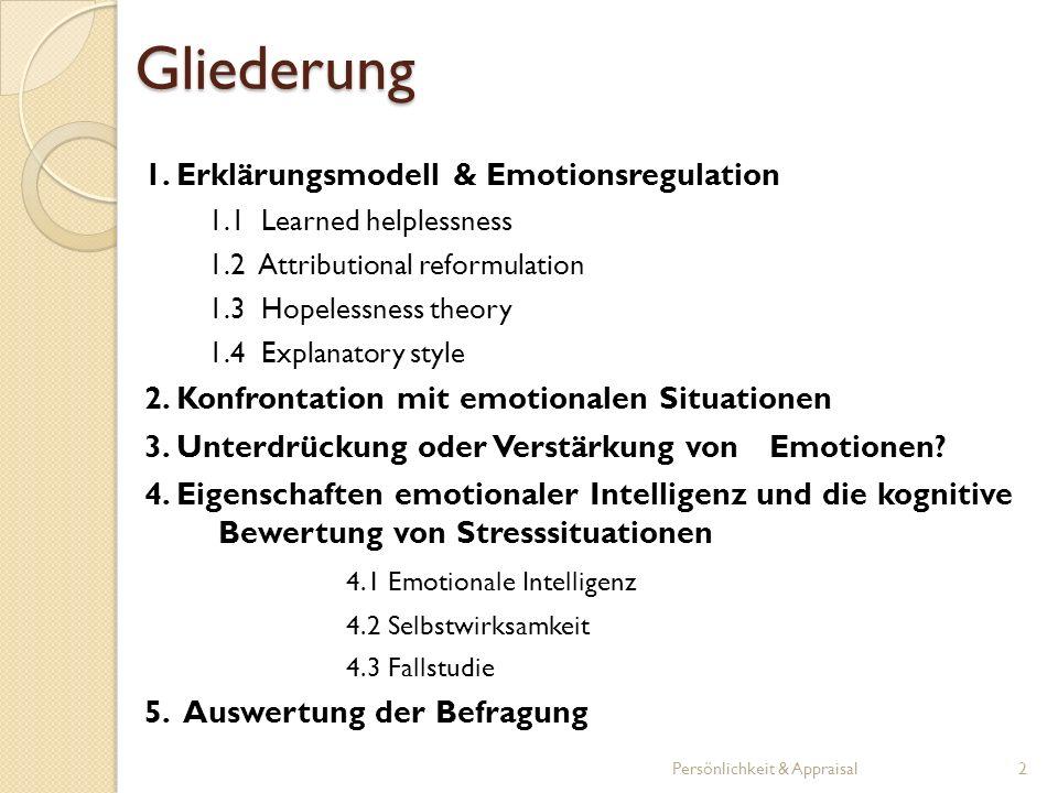 Gliederung 1. Erklärungsmodell & Emotionsregulation
