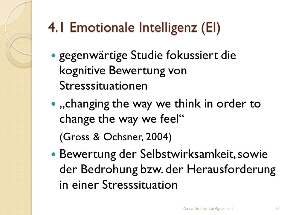 4.1 Emotionale Intelligenz (EI)