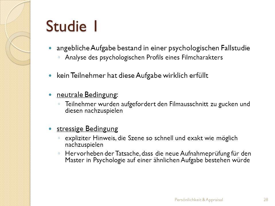 Studie 1 angebliche Aufgabe bestand in einer psychologischen Fallstudie. Analyse des psychologischen Profils eines Filmcharakters.