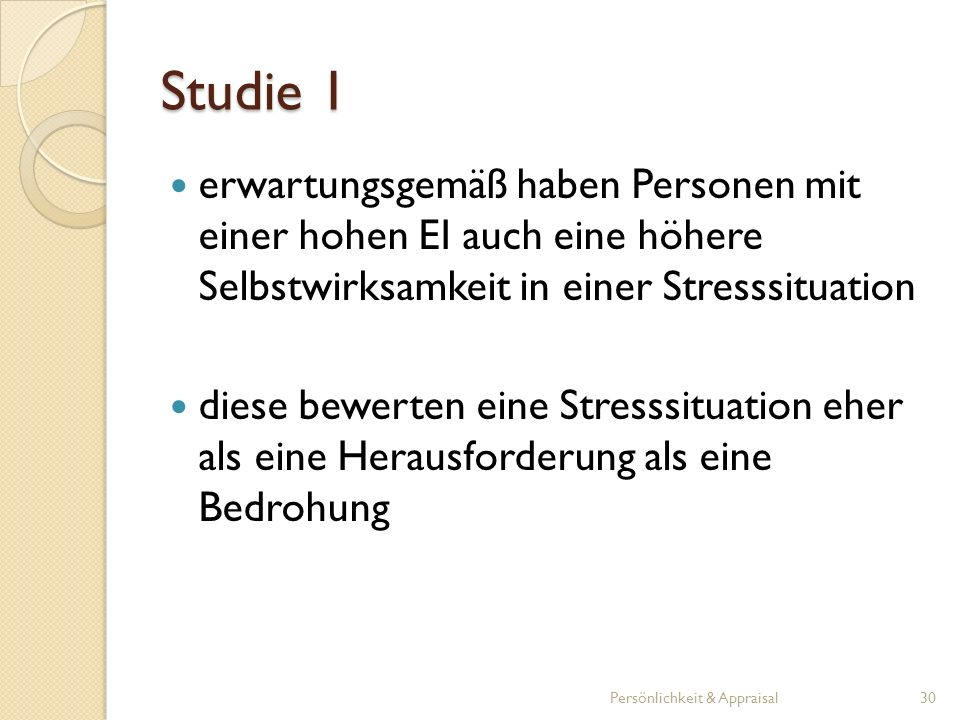 Studie 1 erwartungsgemäß haben Personen mit einer hohen EI auch eine höhere Selbstwirksamkeit in einer Stresssituation.
