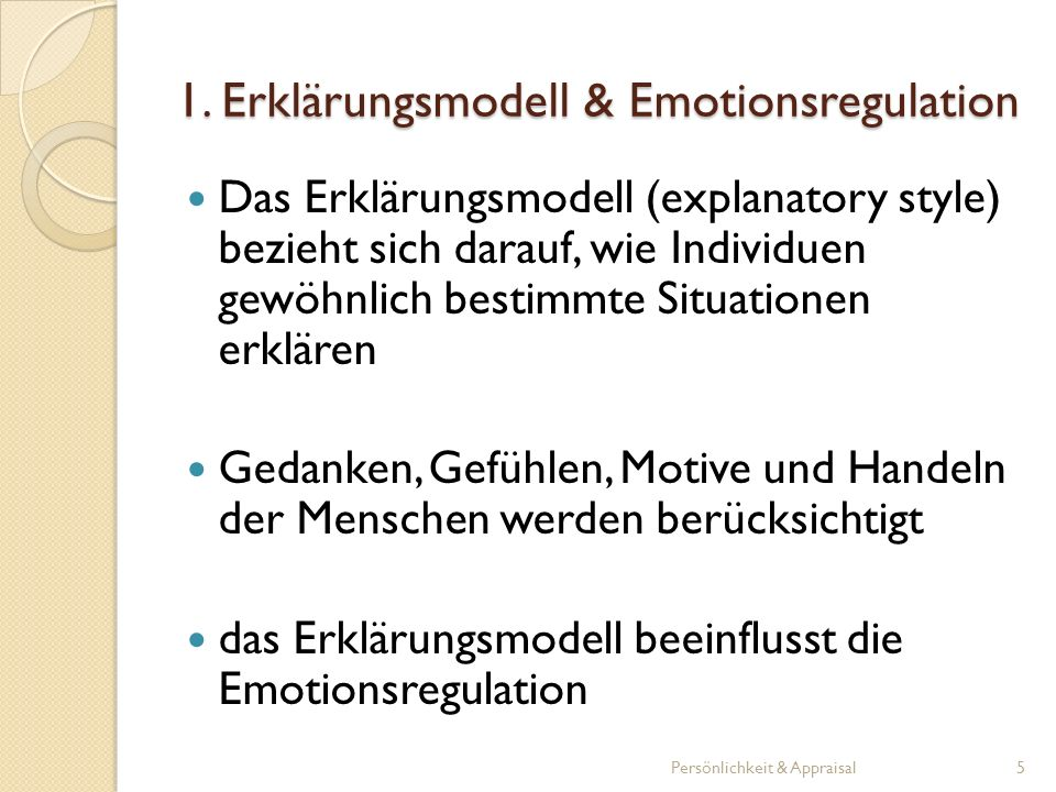 1. Erklärungsmodell & Emotionsregulation