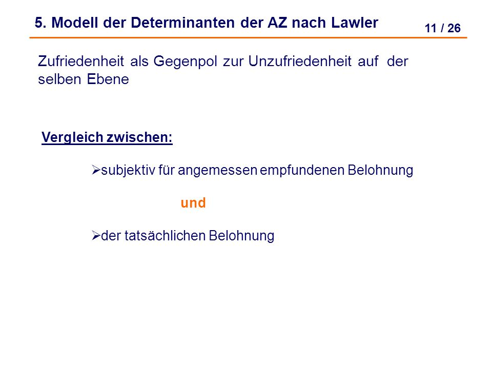 5. Modell der Determinanten der AZ nach Lawler