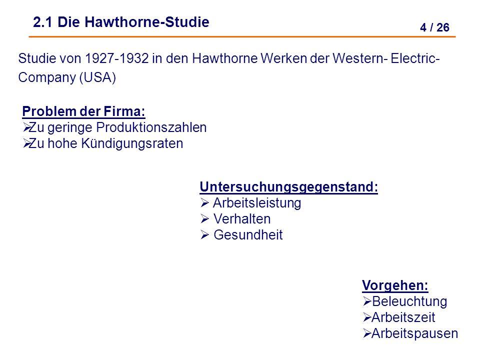 2.1 Die Hawthorne-Studie Studie von 1927-1932 in den Hawthorne Werken der Western- Electric- Company (USA)