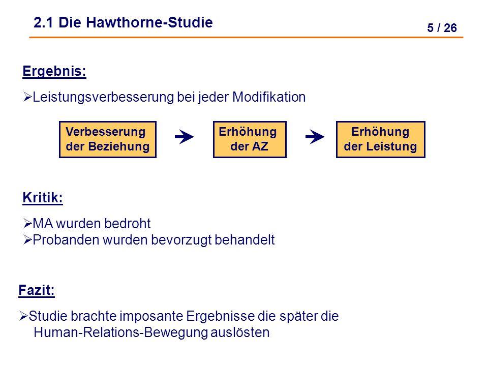 2.1 Die Hawthorne-Studie Ergebnis: