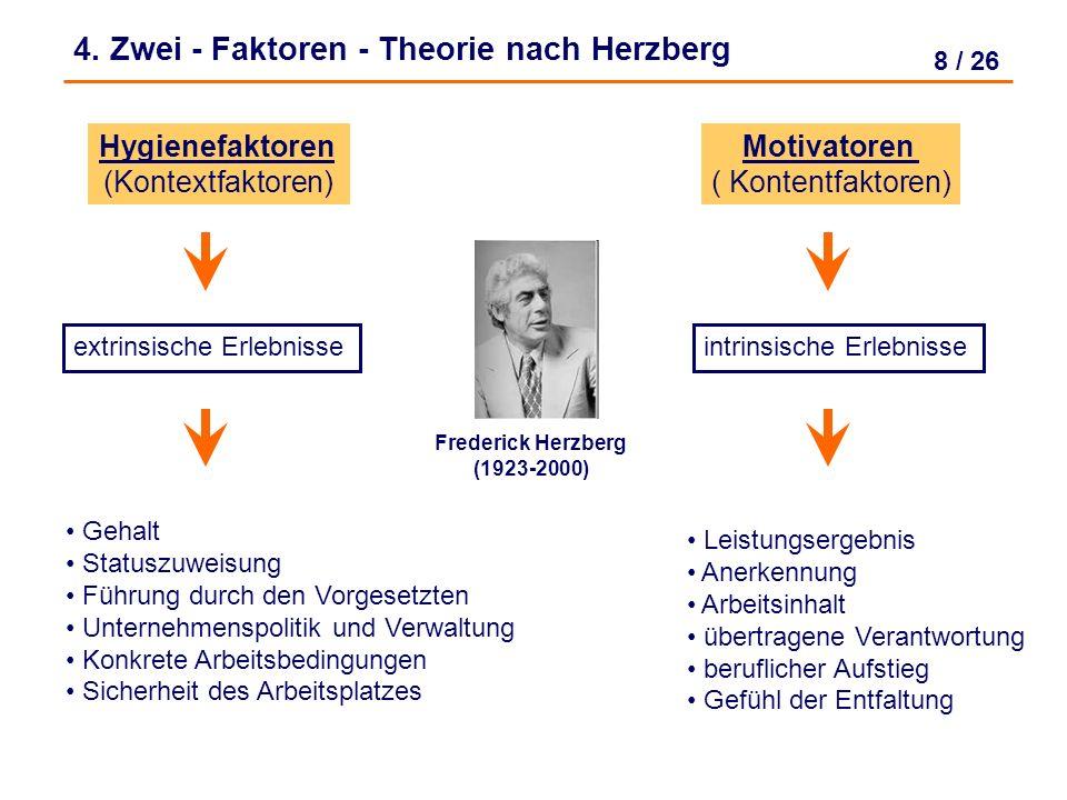 4. Zwei - Faktoren - Theorie nach Herzberg