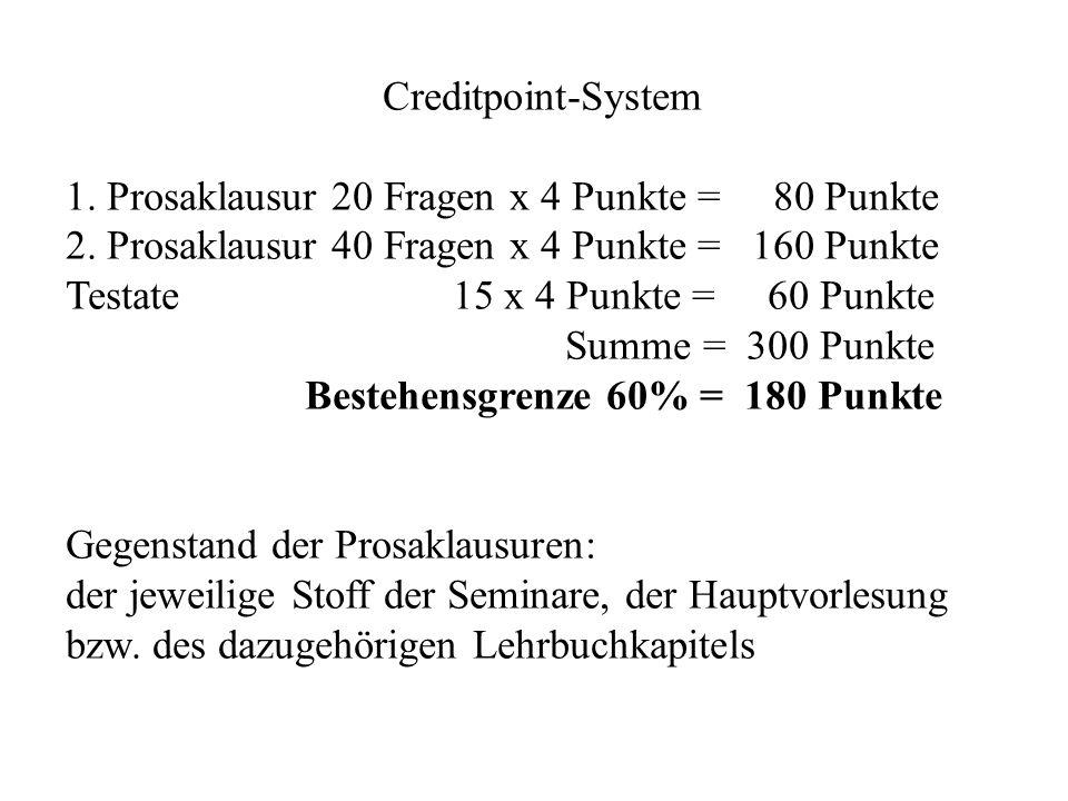 Creditpoint-System 1. Prosaklausur 20 Fragen x 4 Punkte = 80 Punkte. 2. Prosaklausur 40 Fragen x 4 Punkte = 160 Punkte.