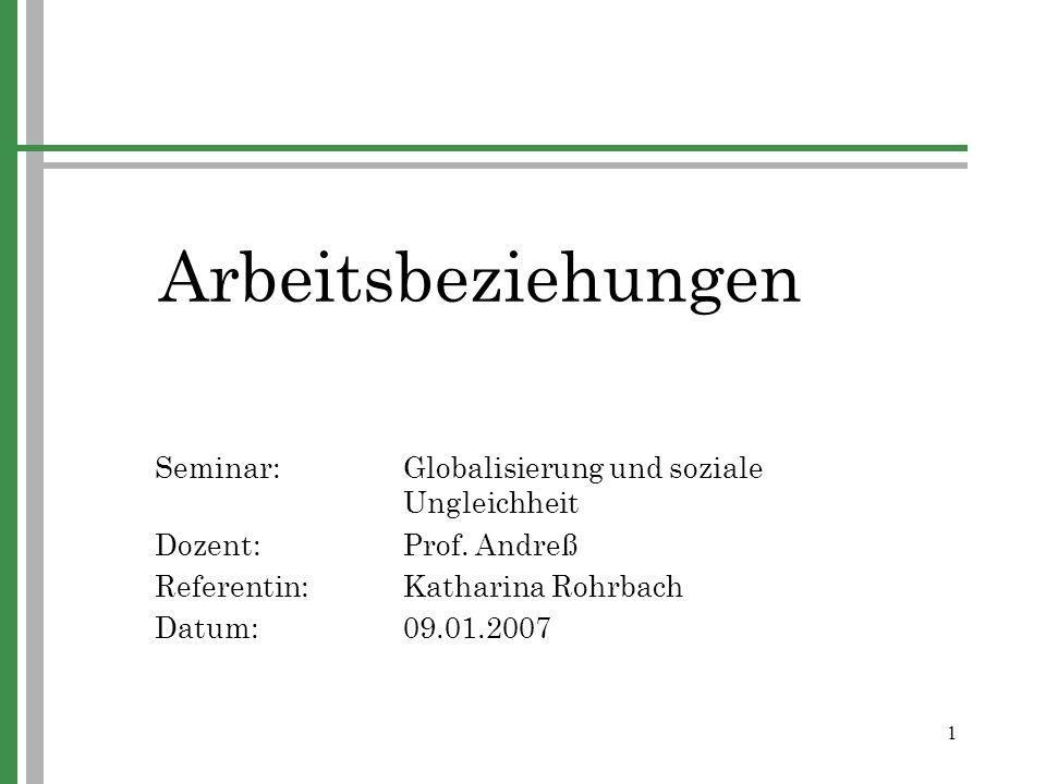 Arbeitsbeziehungen Seminar: Globalisierung und soziale Ungleichheit