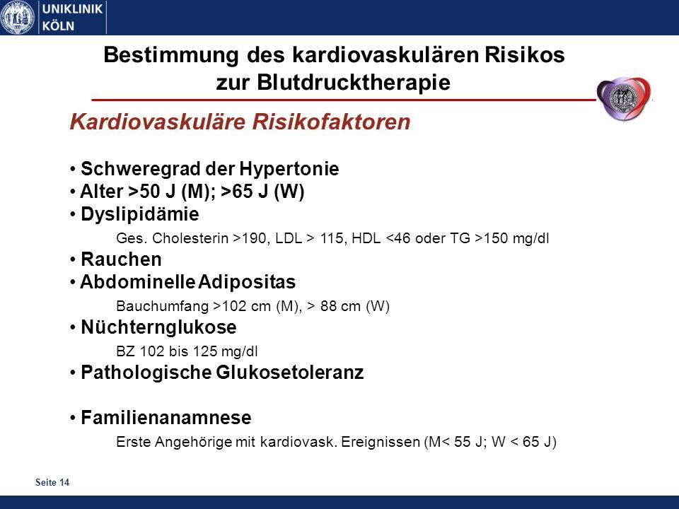 Bestimmung des kardiovaskulären Risikos zur Blutdrucktherapie