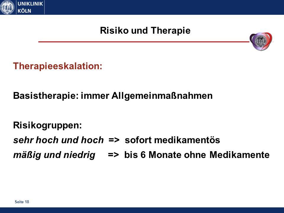 Risiko und Therapie Therapieeskalation: Basistherapie: immer Allgemeinmaßnahmen. Risikogruppen: sehr hoch und hoch => sofort medikamentös.