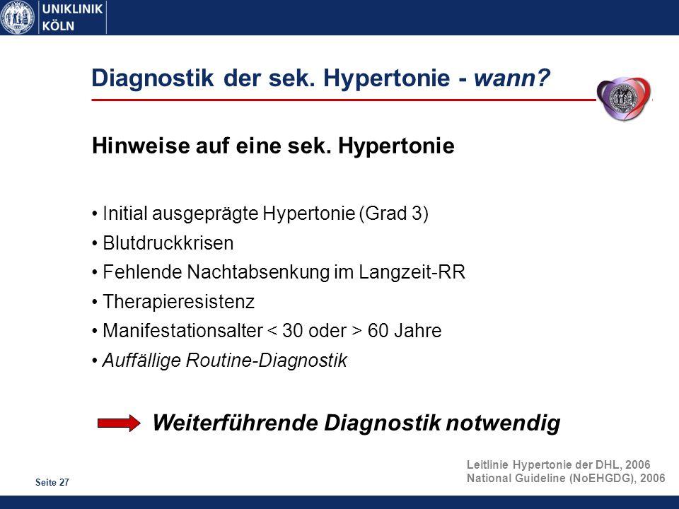 Diagnostik der sek. Hypertonie - wann