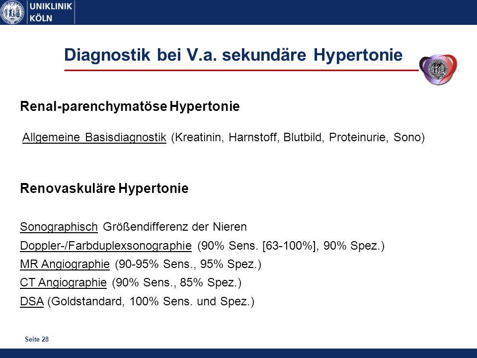 Diagnostik bei V.a. sekundäre Hypertonie