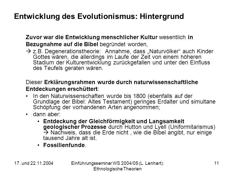 Entwicklung des Evolutionismus: Hintergrund