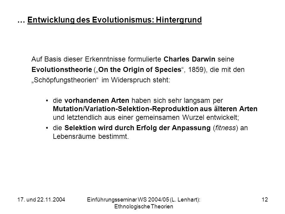 … Entwicklung des Evolutionismus: Hintergrund