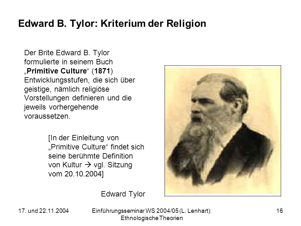 Edward B. Tylor: Kriterium der Religion