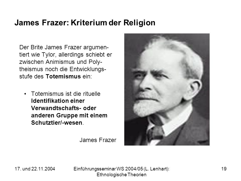 James Frazer: Kriterium der Religion