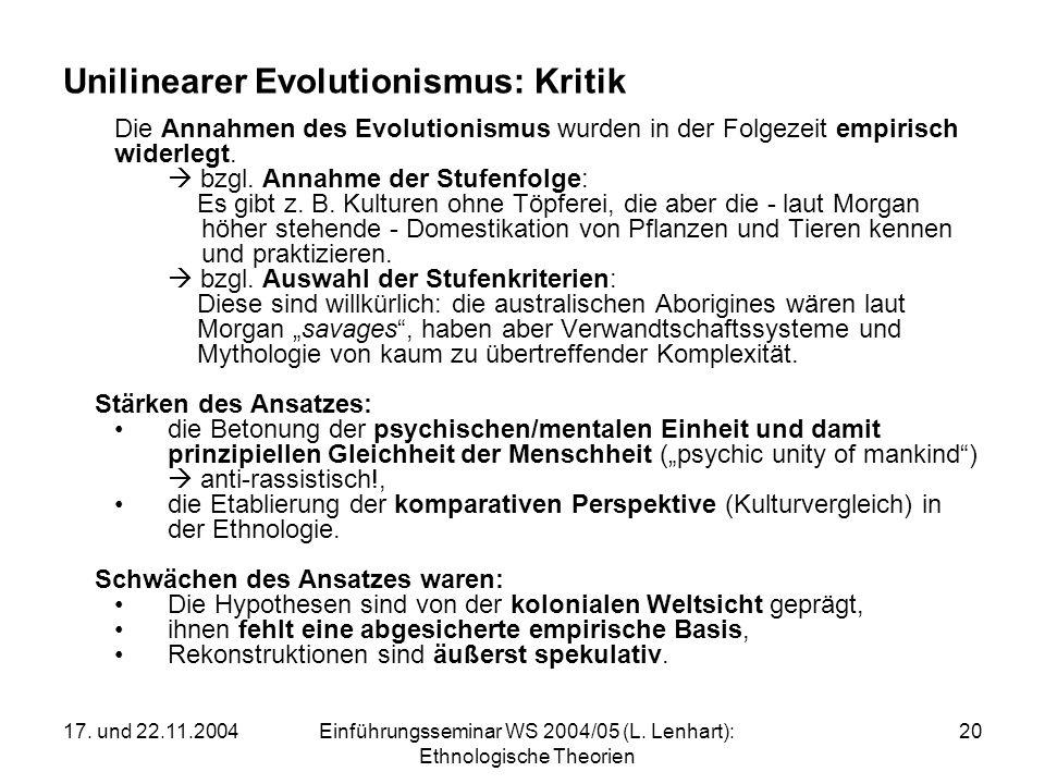 Unilinearer Evolutionismus: Kritik