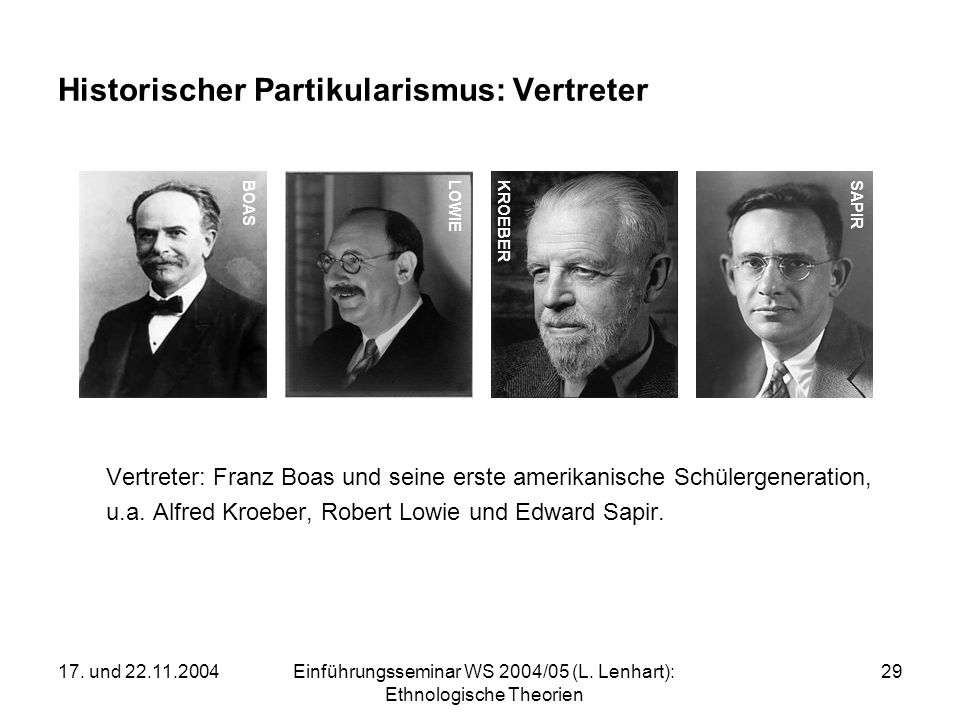 Historischer Partikularismus: Vertreter