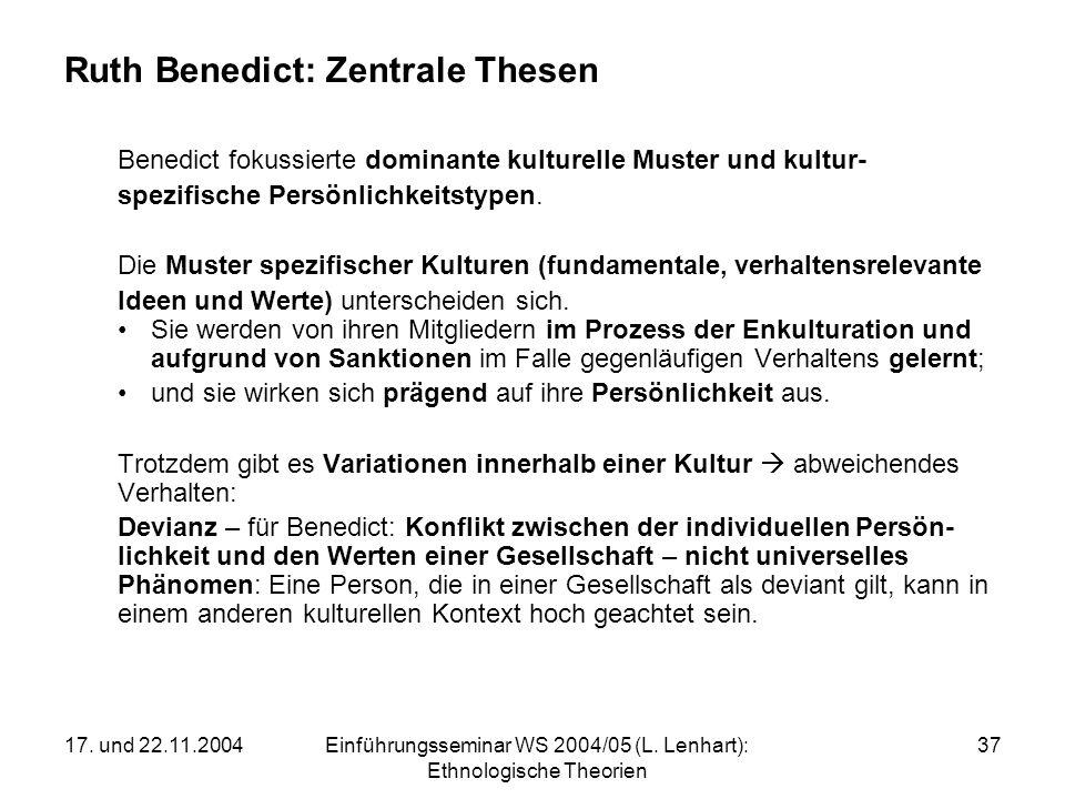 Ruth Benedict: Zentrale Thesen